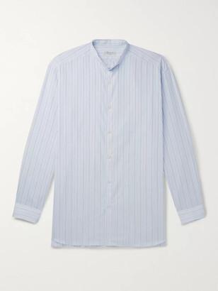 Charvet Grandad-Collar Striped Cotton-Poplin Shirt