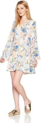 En Creme Junior's V Neck Long Sleeve Bohemian Floral Print Tunic Dress