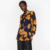 Paul Smith Women's Navy 'Poppy Chain' Sheer Silk Shirt