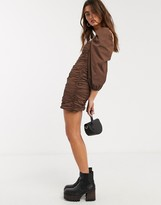 Bershka ruched poplin dress in brown