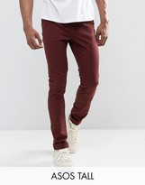 Asos Tall Skinny Chinos In Red