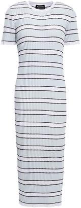 Markus Lupfer Mary Striped Ribbed-knit Midi Dress