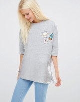 Daisy Street Sweat Top With Metallic Hem And Patches