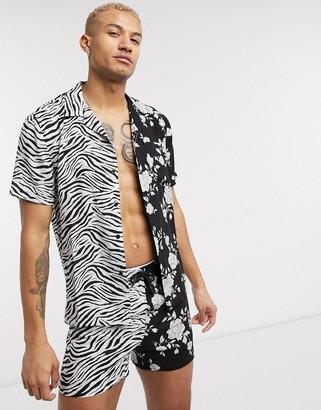 Religion revere collar split zebra and floral print short sleeve shirt in black