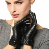WARMEN Classic Women Genuine Nappa Leather Winter Warm Soft Lined Gloves (, L)