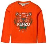 Kenzo Orange Tiger Print Long Sleeve Tee