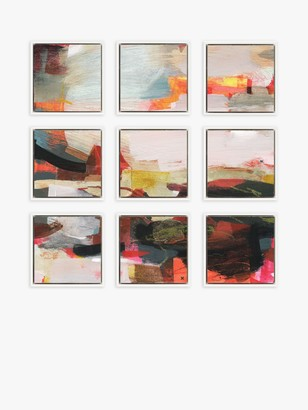 Sheridan Alice Abstract Floating Framed Canvas Print, Set of 9, 34 x 34cm, Red/Multi