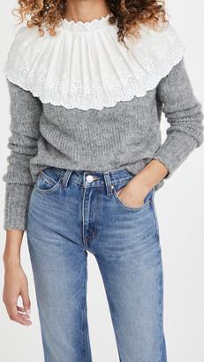 ENGLISH FACTORY Eyelet Combo Sweater