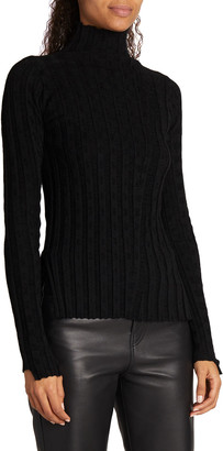 Proenza Schouler White Label Velvet Checkerboard Rib Turtleneck Top