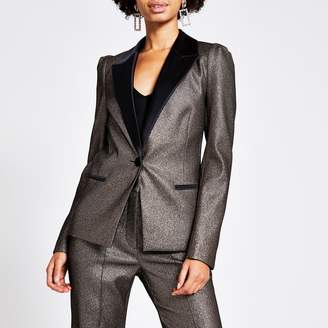 River Island Womens Brown metallic sleeve blazer