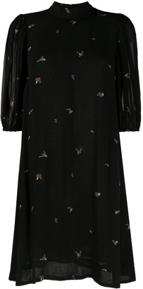 Ganni Floral-Embroidered Puff-Sleeve Dress