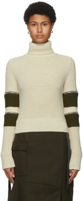 Sacai Off-White Wool Zip Sleeve Turtleneck