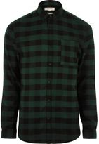 River Island MensGreen casual check muscle fit shirt