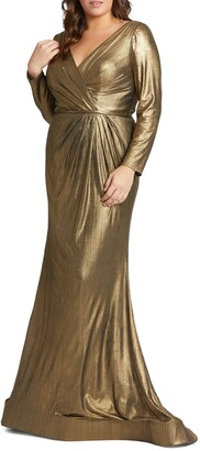 Mac Duggal Metallic Long Sleeve Faux Wrap Gown