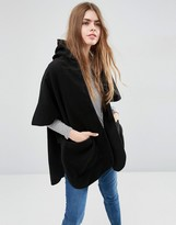 Asos Hooded Cape With Pockets
