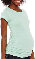Asstd National Brand Maternity Short-Sleeve Ruched-Side Tee - Plus