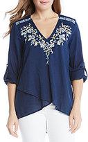 Karen Kane V-Neck Crossover Embroidered Tunic