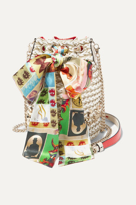Christian Louboutin Marie Jane Printed Silk-trimmed Woven Bucket Bag - Tan