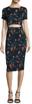 Suno Floral Stretch Silk Cutout Sheath Dress, Black