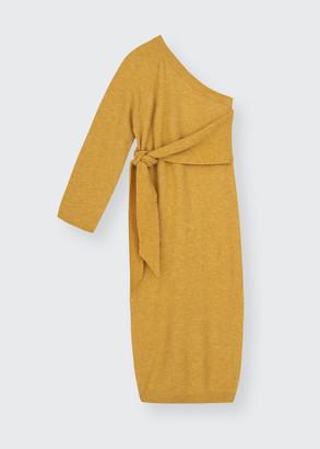 Nanushka Cedro One-Shoulder Belted Wool Midi Dress