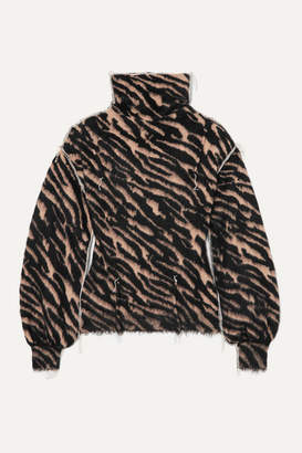 Unravel Project Frayed Intarsia Wool-blend Turtleneck Sweater - Zebra print