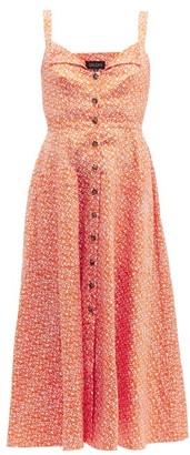 Saloni Fara Printed Cotton-blend Dress - Womens - Orange Multi
