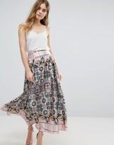 Traffic People Mixed Print Pleated Skirt