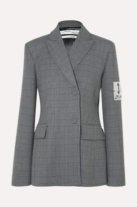 Off-White Off White Galles Appliqued Checked Woven Blazer - Gray