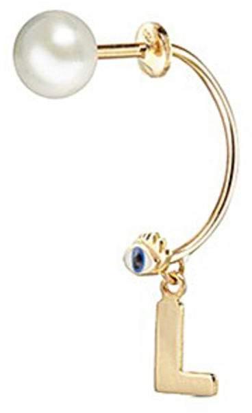Delfina Delettrez 'ABC Micro Eye Piercing' freshwater pearl 18k yellow gold single earring - L