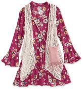Beautees Lace Vest, Floral-Print Dress, Purse and Necklace Set, Big Girls (7-16)