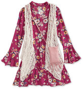 Beautees Lace Vest, Floral-Print Dress, Purse & Necklace Set, Big Girls (7-16)