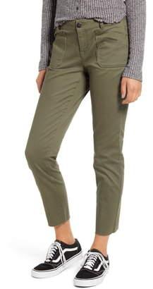 1822 Denim Layered Pocket Raw Hem Slim Leg Jeans