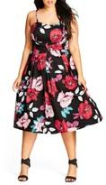 City Chic Plus Size Women's Poppy Garden Fit & Flare Dress