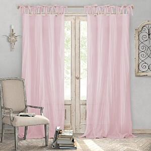 Elrene Home Fashions Jolie Semi-Sheer Pleated Curtain Panel, 52 x 95