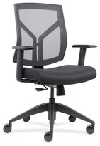 Lorell Mid-Back Chairs With Mesh Back & Fabric Seat Lorell Upholstery Color: Black