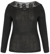 Evans City Chic Black Lace Crochet Jumper