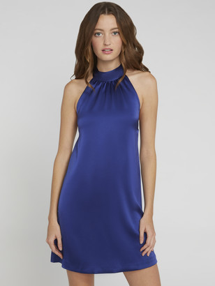 Alice + Olivia Crystal Tie Neck Halter Dress