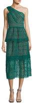 Self-Portrait One-Shoulder Floral-Chain Lace Guipure Midi Dress