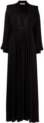 Philosophy di Lorenzo Serafini Quilted-Trim Bishop Sleeved Gown