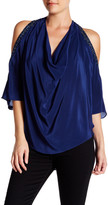 Haute Hippie Embellished Cold Shoulder Silk Blouse