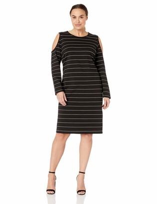 City Chic Women's Apparel Women's Plus Size Long Sleeve Cold Shoulder Striped Dress