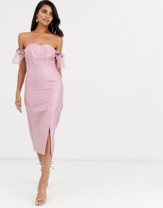 True Decadence off shoulder midi dress with statement organza sleeve in dusky pink