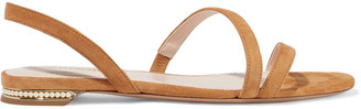 Nicholas Kirkwood Casati Faux Pearl-embellished Suede Slingback Sandals