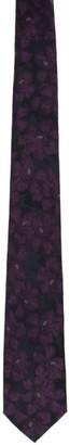 Dries Van Noten Black and Purple Silk Graphic Tie