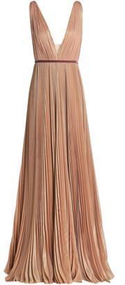 J. Mendel J.mendel Belted Pleated Metallic Silk-blend Gown