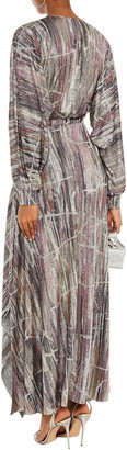 BA&SH Santana Metallic Printed Knitted Maxi Dress