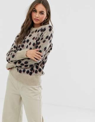 Pieces spot print knitted jumper-Beige