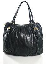 Badgley Mischka Black Gold Tone Leather Shoulder Bag