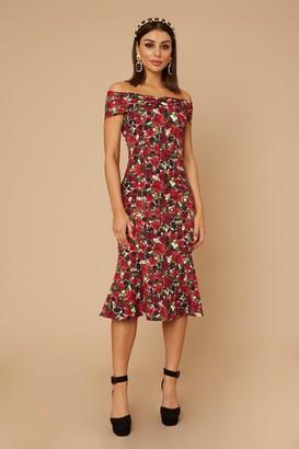 Little Mistress Remy Rose-Print Bardot Midi Dress