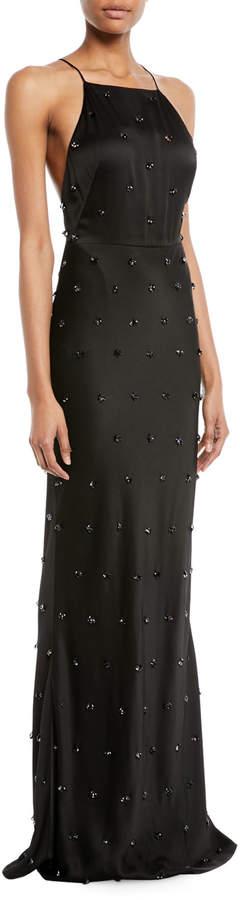 Jason Wu Collection Crepe-Back Satin Embellished Column Evening Gown